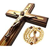 Handmade Wall Cross Wooden Catholic Wall Crucifix, Home Wall Decor Hanging Cross 12""