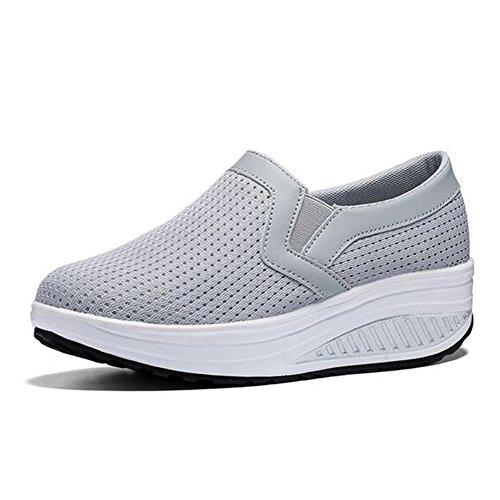 Casual Walking Casual Mesh Farbe Frauen Turnschuhe Plattform Laufschuhe Damen Shaking Keil 37 Schuhe Rosa Grau Bootsschuhe Größe HqgfAx