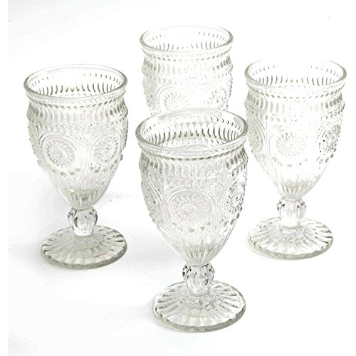 (The Pioneer Woman Adeline Embossed 12-Ounce Footed Glass Goblets, Set of 4)