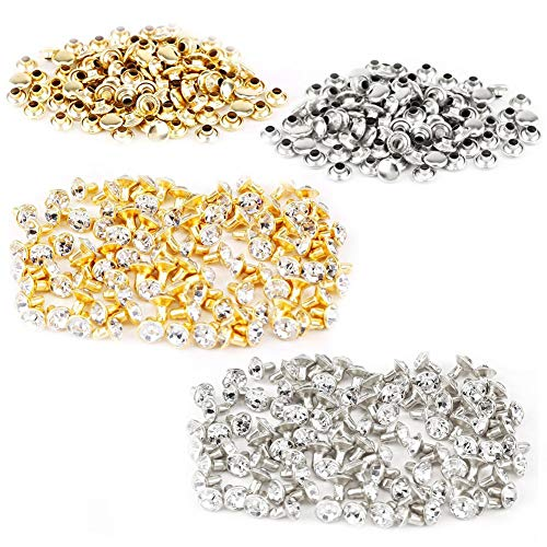 (Ffpazig 200 Pieces of 7 mm Round Rhinestone Metal Studs Rivet Spikes Leather-Crafts Clothes Bags Shine Jewelery - (Silver & Gold, 100 Each))