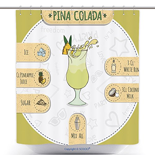 Stylish Shower Curtains Stock Popular Alcoholic Cocktail Pina Colada With A Detailed Recipe And Ingredients In A Series Of 290288372 Polyester Bathroom Shower Curtain Set With Hooks