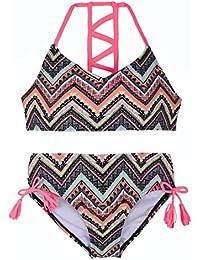 Firpearl Girls Swimsuits Halter Bikini Two Piece Bathing Suit Kids Bikini L Orange Geometry