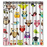 Owl Shower Curtain FMSHPON Owl Waterproof Polyester Fabric Shower Curtain Size 66(w) x 72(h) Inches