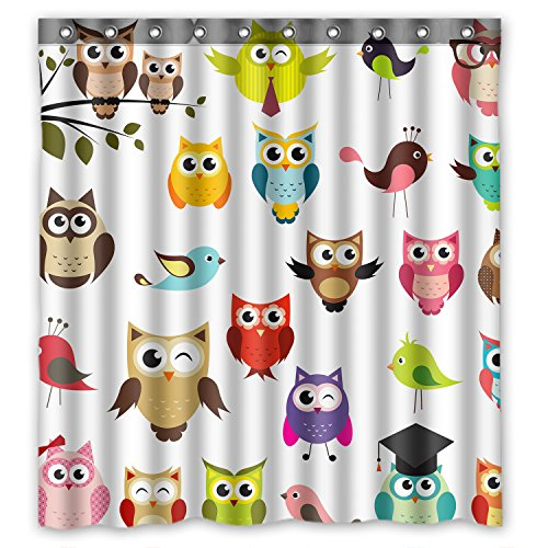 FMSHPON Owl Waterproof Polyester Fabric Shower Curtain Size 66(w) x 72(h) Inches (Shower Curtain Owl)
