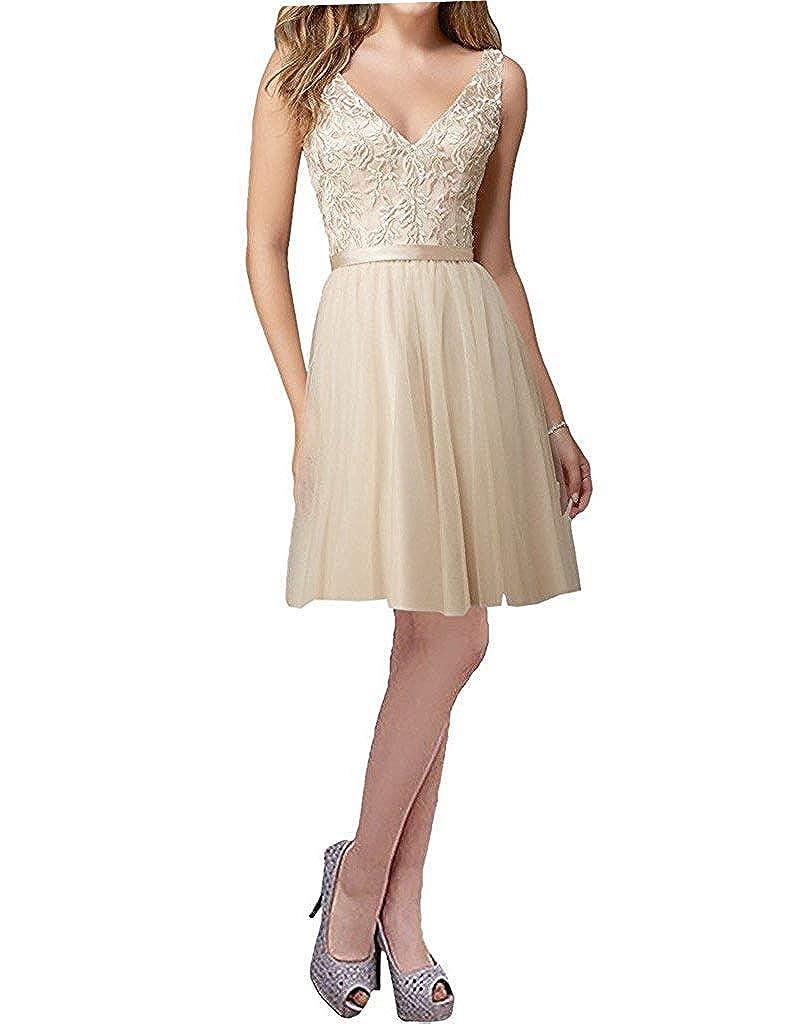 Champagne Short ZLQQ Women's Straps VNeck Tulle Bridesmaid Dresses 2019 Lace Wedding Praty Gowns