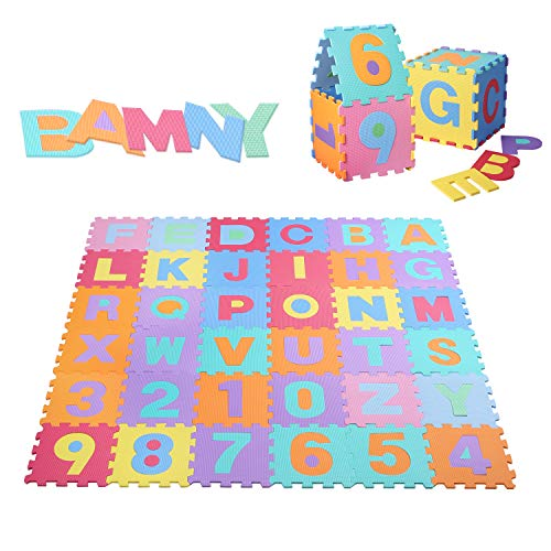 Bamny Puzzle Play Mat - Non-Toxic EVA Kids Multicolor Alphabets & Numbers Foam Floor Mat for Children & Toddlers, 36 Tiles, 12.79