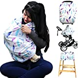 Summer Cool Stretchy Baby Car Seat Cover,Multi-Use Infinity Nursing Covers And Breastfeeding Cover,Carseat Canopy For Boys&Grils,Shopping Cart and Stroller,Carseat Covers (feather&arrows)