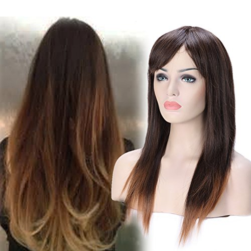 23''/58cm Cosplay Wig with Bang Long Silky Straight for Anime Party Women Halloween Costume Dress Synthetic Heat Resistant Fiber (Brown to - Mall Fashion