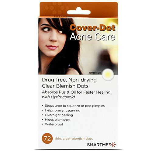 Cover Dot Acne Care - Hydrocolloid Waterproof Clear Pimple Absorbing Acne Patch - 72 dots Oil Absorbing Clay