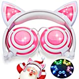 [Upgraded Version]Cat Ear Kids Headphones Rechargeable&LED Light Up Foldable Over Ear Headphones Headsets for Girls Boys,Compatible for iPad,Kids Tablet,Children Wearable Christmas Gift(New Pink)