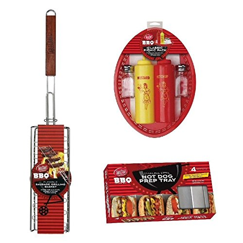 (Tablecraft BBQ Series 3pc Hot Dog & Sausage Barbeque/Grilling Tool Set)