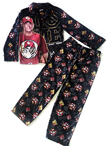 Boys' WWE John Cena Can't See Me Flannel Button Up Coat Long Pants Pajamas (XL (14/16))