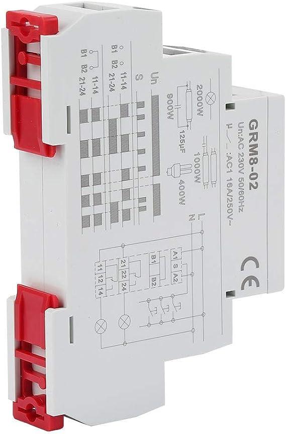 GRM8-02 Elektronisches Impulsrelais AC 230V Elektronisches Impulsrelais Verriegelungsrelais Speicherrelais mit LED-Anzeige 35mm DIN-Schiene