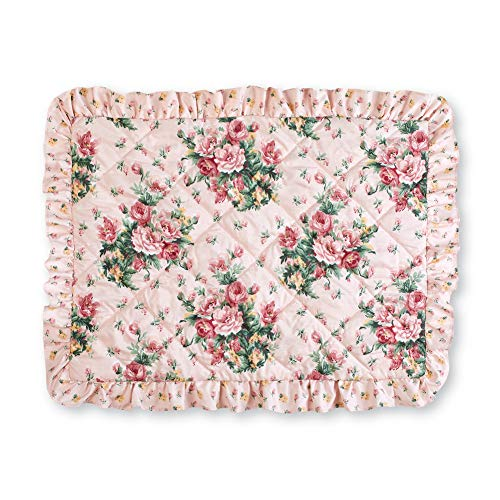 Collections Etc Pink Rose Floral Trellis Pillow Sham with Quilted Detail and Ruffled Skirt - Bedroom Décor