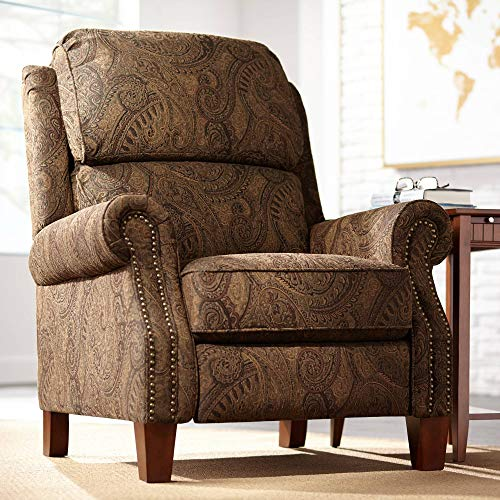 Beaumont Warm Brown Paisley Push-Thru Arm 3-Way Recliner – Kensington Hill