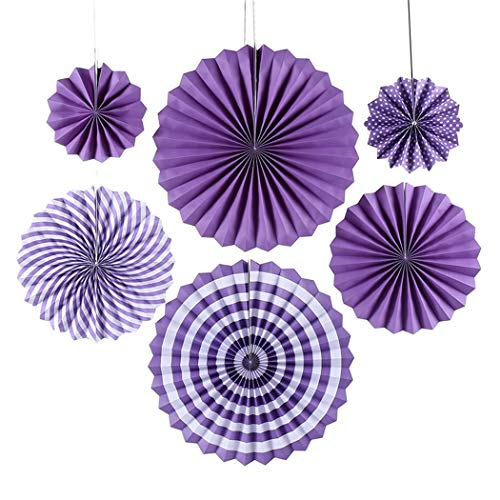 SAWMONG 6 Pack Colorful Paper Fans Party Decoration for Wedding Birthday Carnival Party, Purple -