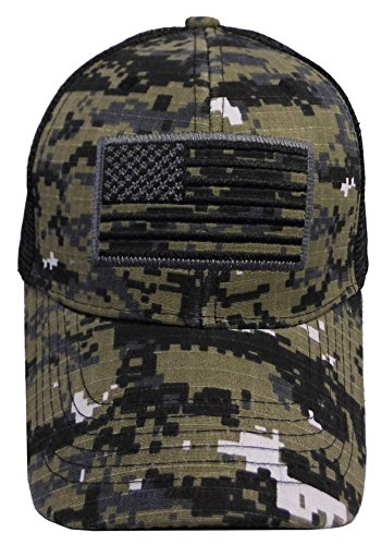 US American Flag Patch Tactical Style Mesh Trucker Baseball Cap Hat (One Size, Black Camo) (Bear Flag Patch)