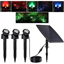 Keynice Solar Light, LED Outdoor Solar Powered with 3 GRB Lamps 18 Leds , Waterproof IP 68 Security Motion Sensor Light for Pool Pond, Garden Path , Patio, Deck, Yard, Garden, Driveway with 2 Modes