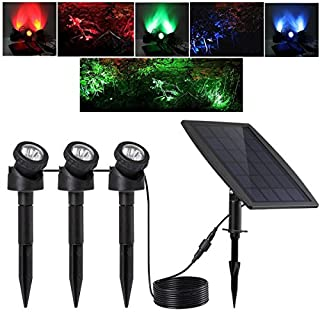 KEYNICE Solar Light, LED Outdoor Solar Powered with 3 GRB Lamps 18 LEDs, Waterproof IP 68 Security Motion Sensor Light for Pool Pond, Garden Path, Patio, Deck, Yard, Garden, Driveway with 2 Modes