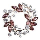 Gyn&Joy Clear Crystal Rhinestone Floral Wreath Pin Brooch BZ005 (grape purple)