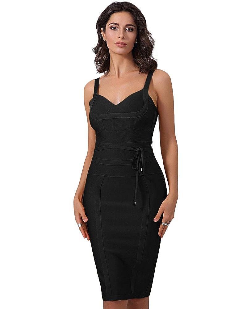 UONBOX Women s Strap V Neck Tie Waist Knee Length Bodycon Pencil Bandage  Club Dress at Amazon Women s Clothing store  d8ddeb770