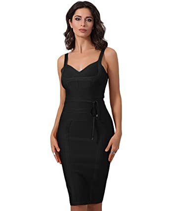 UONBOX Women s Strap V Neck Tie Waist Knee Length Bodycon Pencil Bandage  Club Dress (XS 4f103fb1c
