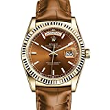 Rolex Day-Date President 36 Yellow Gold Watch Cognac Leather Strap 118138