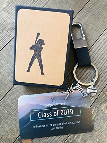 (Baseball 2019 Graduation Key Chain Gift with Card for Baseball Player ~ Masculine ~ Keepsake ~ Softball Key Chain with Gift Packaging for Boy or Girl)