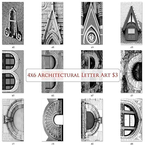 Letter Art Alphabet Photos for DIY Name Art Personalized Custom Gifts. Free Fast Shipping. 4x6 Inches. Black and White Prints. (Letter Picture Art)