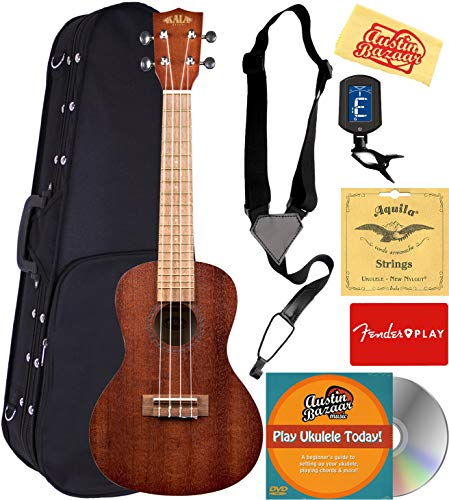 Kala KA-15C Satin Mahogany Concert Ukulele Bundle with Hard Case, Tuner, Strap, Strings, Fender Play Online Lessons, Austin Bazaar Instructional DVD, and Polishing Cloth