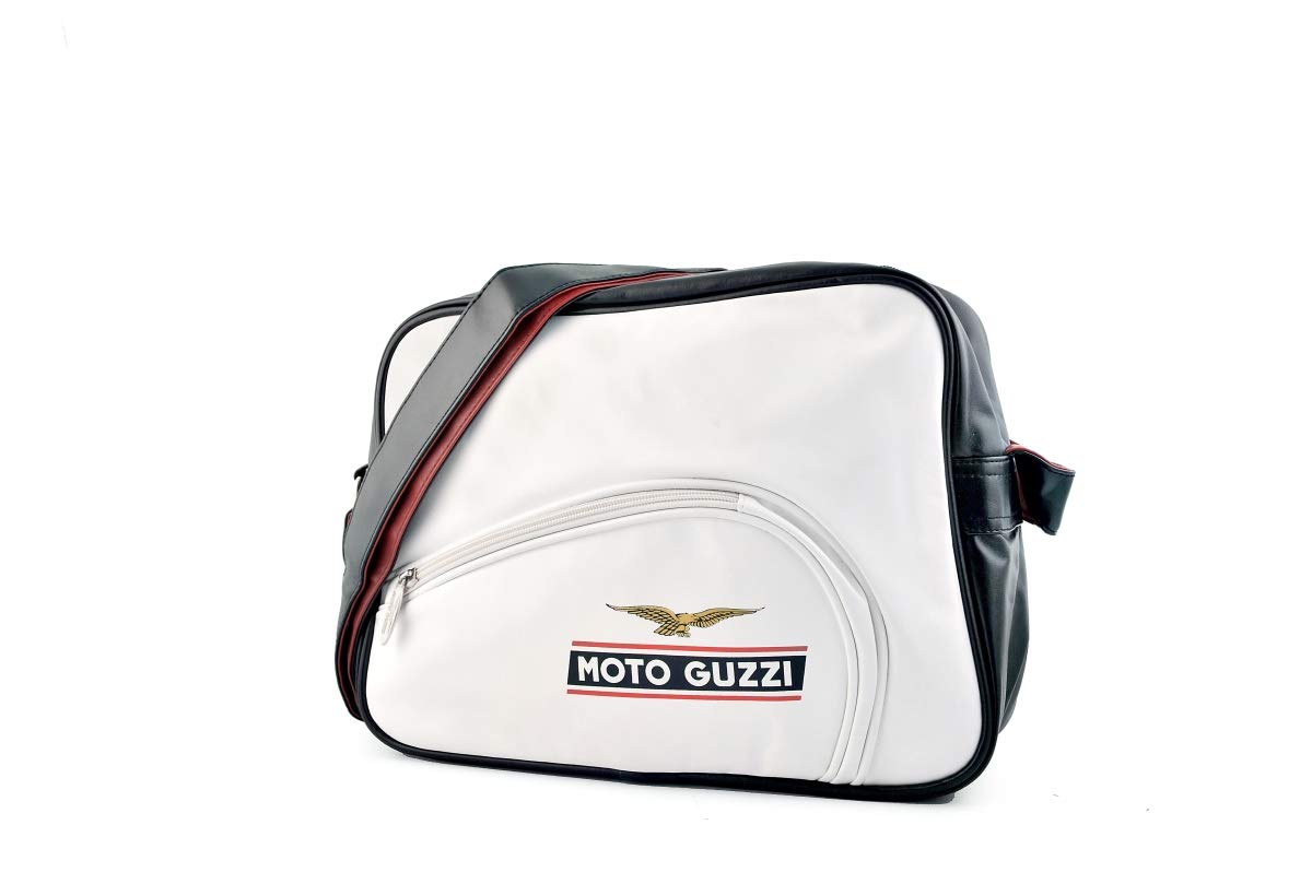 35 x 25 x 11 cm Tank White Moto Guzzi GZSB05 Eco-Leather Shoulder Bag