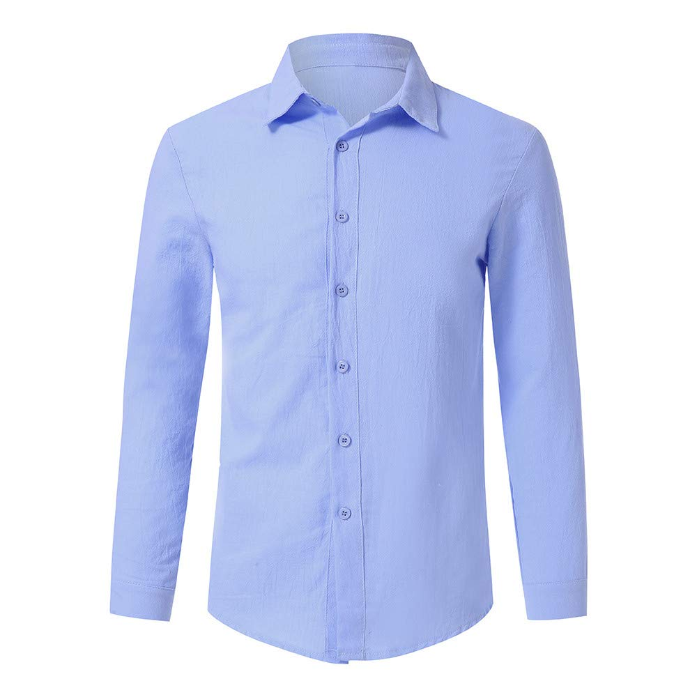 a36a1631448 Amazon.com  Sagton Fashion Mens Basic Solid T-Shirt Business Casual Long  Sleeve Button Top Autumn Winter Shirt  Clothing
