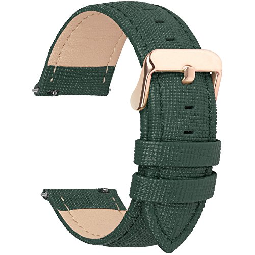 6 Colors for Quick Release Leather Watch Band, Fullmosa Cross Genuine Leather Replacement Watch Strap with Stainless Metal Clasp 22mm Dark Green ()