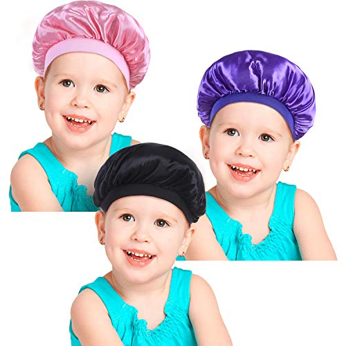 3 Pieces Kids Satin Bonnets Night Sleep Caps Wide Band, used for sale  Delivered anywhere in USA