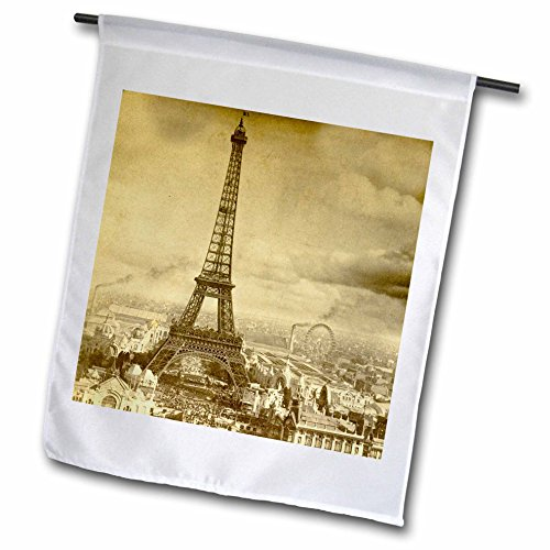 3dRose fl_6795_1 Eiffel Tower Paris France 1889 Sepia Tone Garden Flag, 12 by 18-Inch