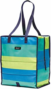 PackIt Freezable Grocery Shopping Bag with Zip Closure, Fresh Stripe
