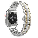 MoKo Band for Apple Watch Series 3 Bands, Stainless Steel Metal Replacement Smart Watch Strap Bracelet for iWatch 38mm 2017 Series 3 / 2 / 1 - Silver and Gold (Not Fit iWatch 42mm)