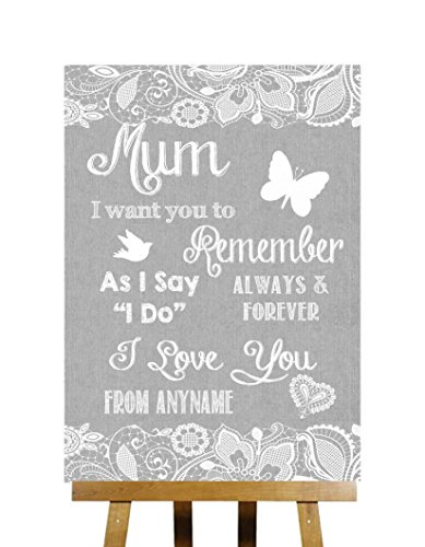 Grey Burlap & Lace Effect Message For Mum Personalized We...