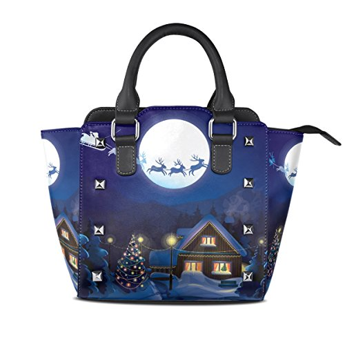 Leather Handle Shoulder Women Merry Tote Bag Zip Bags Closure BENNIGIRY Christmas 003 Handbags PU Top Multi Oxvw0n