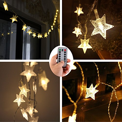 Christmas Tree Decoration String Lights,100 LED Star 33 ft Battery Operated Fairy Lights with Remote Timer,Outdoor Christmas Wedding Festival Lights for Xmas Bedroom Tent RV BBQ Party Cafe (Decorative Party Tent)