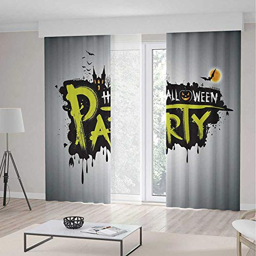 TecBillion Bedroom Blackout Curtains,Halloween,Living Room Bedroom Décor,Halloween Party Hand Drawn Brushstrokes Artistic Design Grunge Cartoon,103Wx94L Inches]()