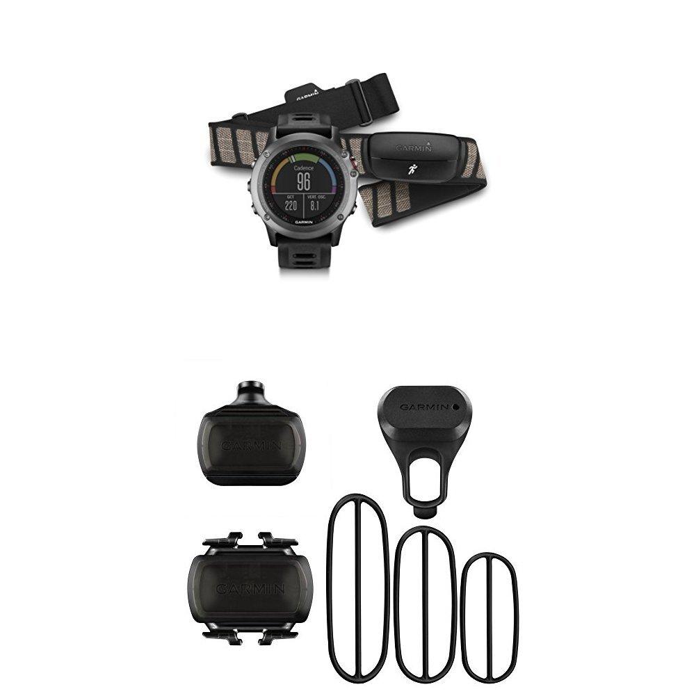 Garmin fenix 3, Gray bundle with Heart Rate Monitor and Bike Speed Sensor and Cadence Sensor