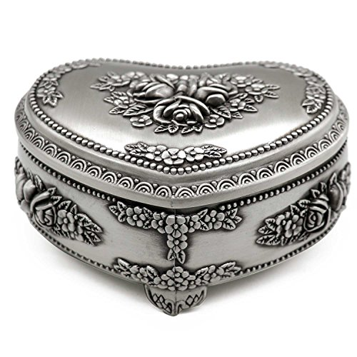 AVESON Classic Vintage Heart Shape Metal Jewelry Box Ring Trinket Storage Organizer Chest Christmas Gift, Medium (Box Shape)