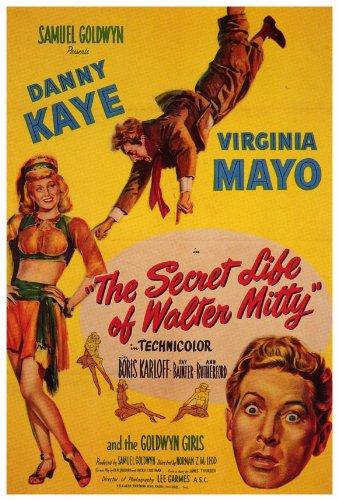 The Secret Life of Walter Mitty Poster 27x40 Danny Kaye Virginia Mayo Boris Karloff