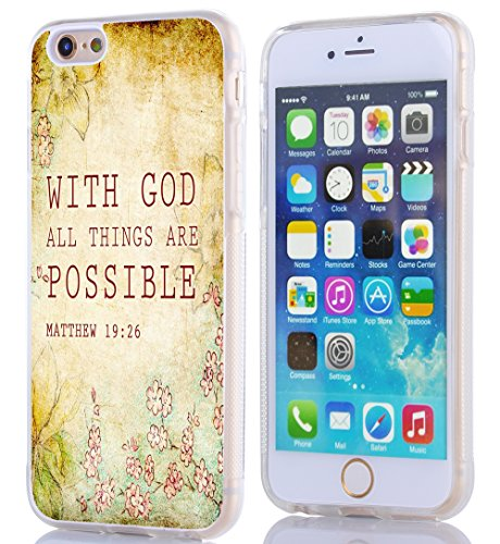 Case for Iphone 6, Iphone 6S Case Bible Verses Christian Quotes 4.7 Inches Matthew 19:26 With God All Things Are Possible