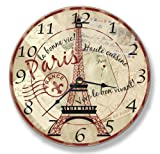 Eiffel Tower & French Sayings Paris Wall Clock - 13''