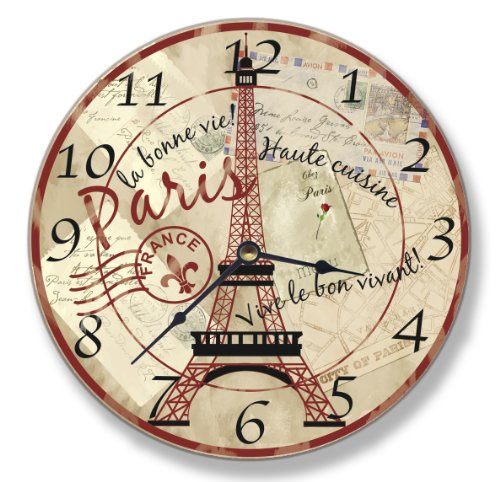 Stupell Home Décor Paris Dining Scene Decorative Vanity Wall Clock, 12 x 0.4 x 12, Proudly Made in USA Art Com Canvas Clock