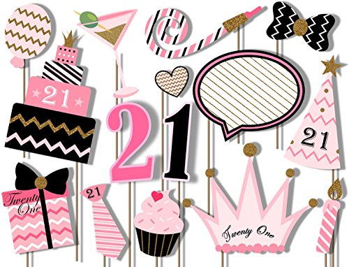 21st Birthday Elegant Pink and Gold Photo Booth Props Kit - 20 Pack Party Camera Props Fully Assembled (Photo Birthday 21st)