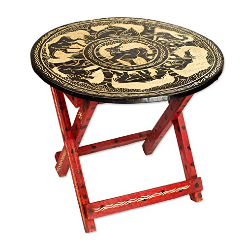 NOVICA Animal Themed Wood Folding Tables, Multicolor, 'African Grasslands' by NOVICA