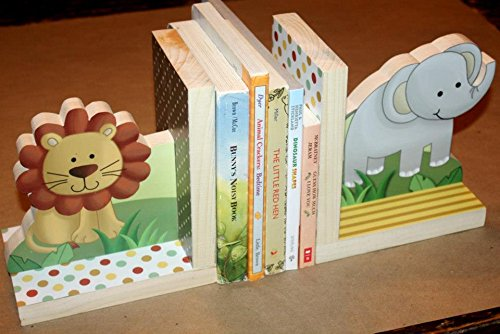 Jungle Animal Safari Kids Bedroom Baby Nursery Wood Bookends BE0010